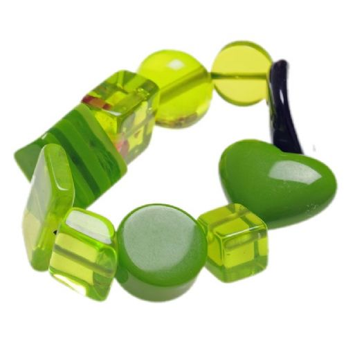 Jackie Brazil Indiana Multi Bead Resin Bracelet in Green